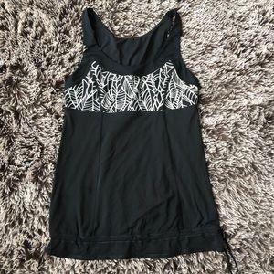 Lululemon drawstring tank top tee shirt black sz 6